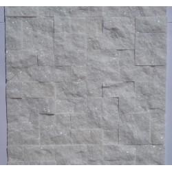 Panel dekoracyjny kwarcytowy śnieżnobiały błyszczący - Panel kamienny 50x20 cm
