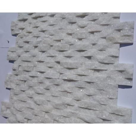 Panel dekoracyjny kwarcytowy śnieżnobiały błyszczący - Panel kamienny 60x15 cm