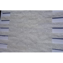 Płytka dekoracyjna, kwarcytowa, śnieżno-biała, błyszcząca , 5x25 cm